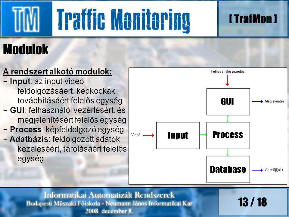 Modulok [ TrafMon ] 13 / 18 A rendszert alkotó modulok: